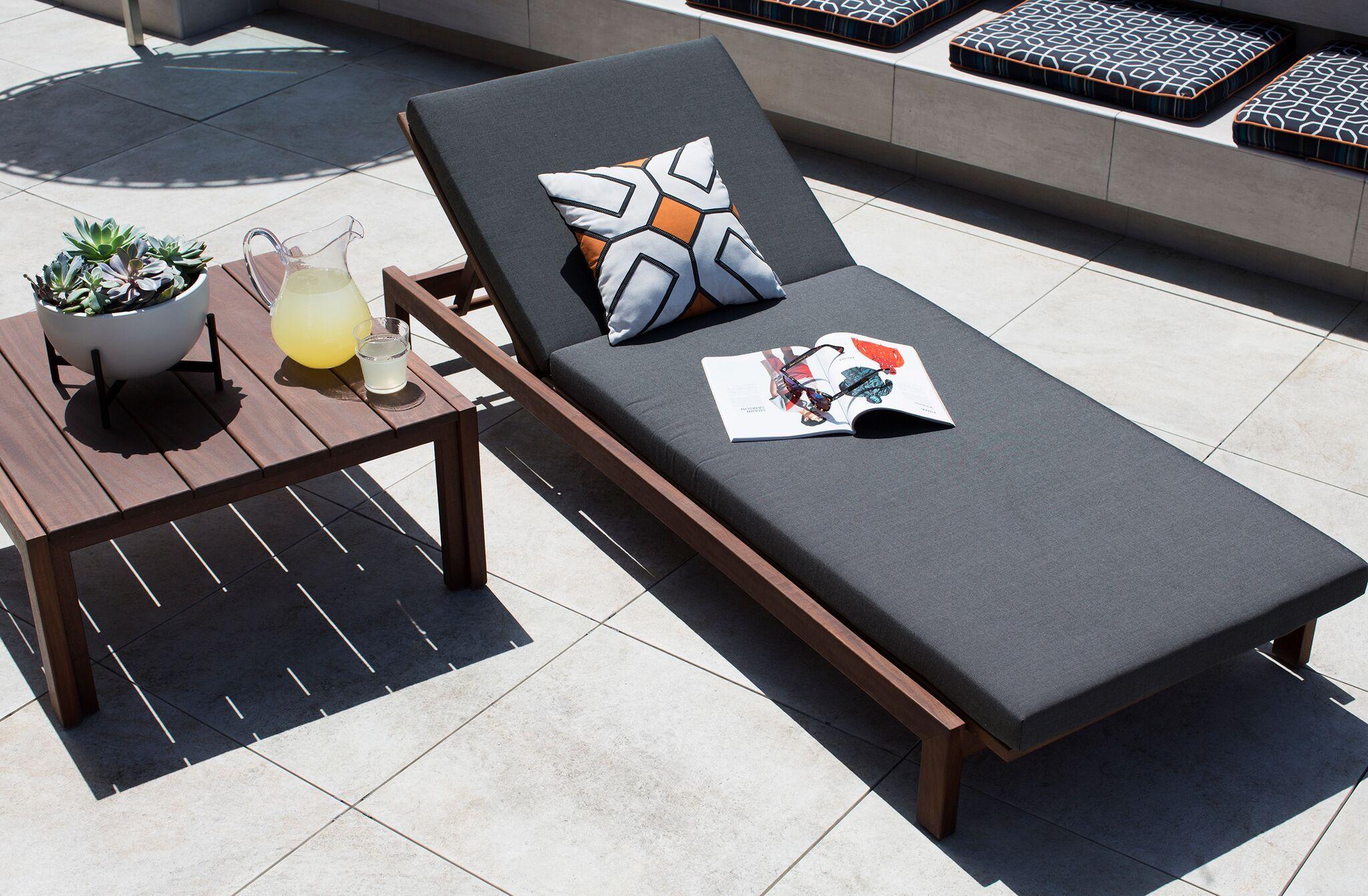 Modernica case study teak chaise upholstered