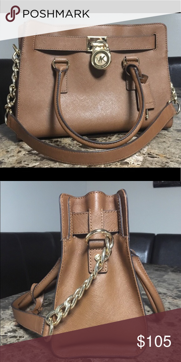 76534e063d9a Leather Michael Kors Handbag Michael Kors Handbag with gold lock, key, &  accents. Short leather strap & longer chain strap. KORS Michael Kors Bags  Totes