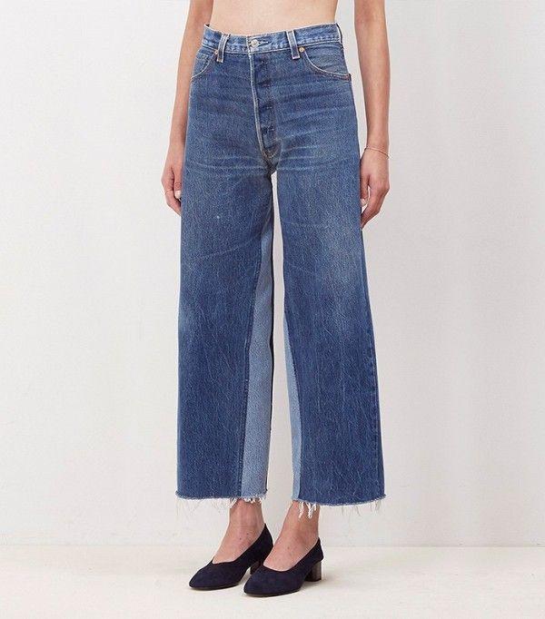 Re/Done Denim Patch Wide Leg Jeans