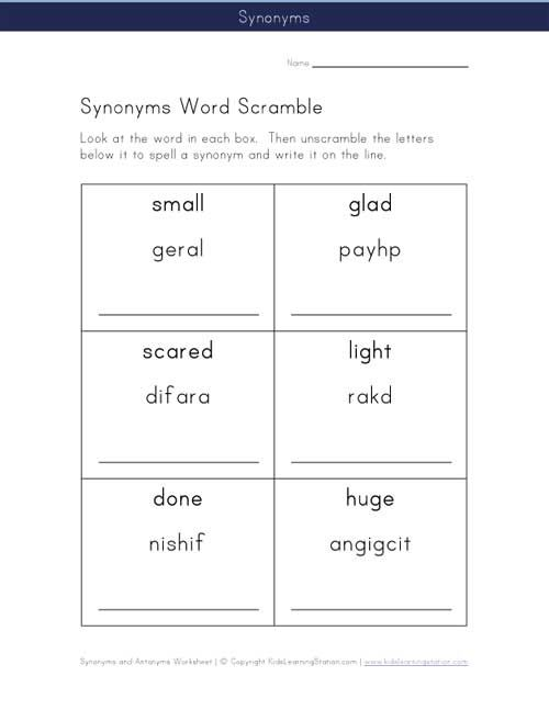 Word Jumble | View and Print Your Synonym Word Scramble