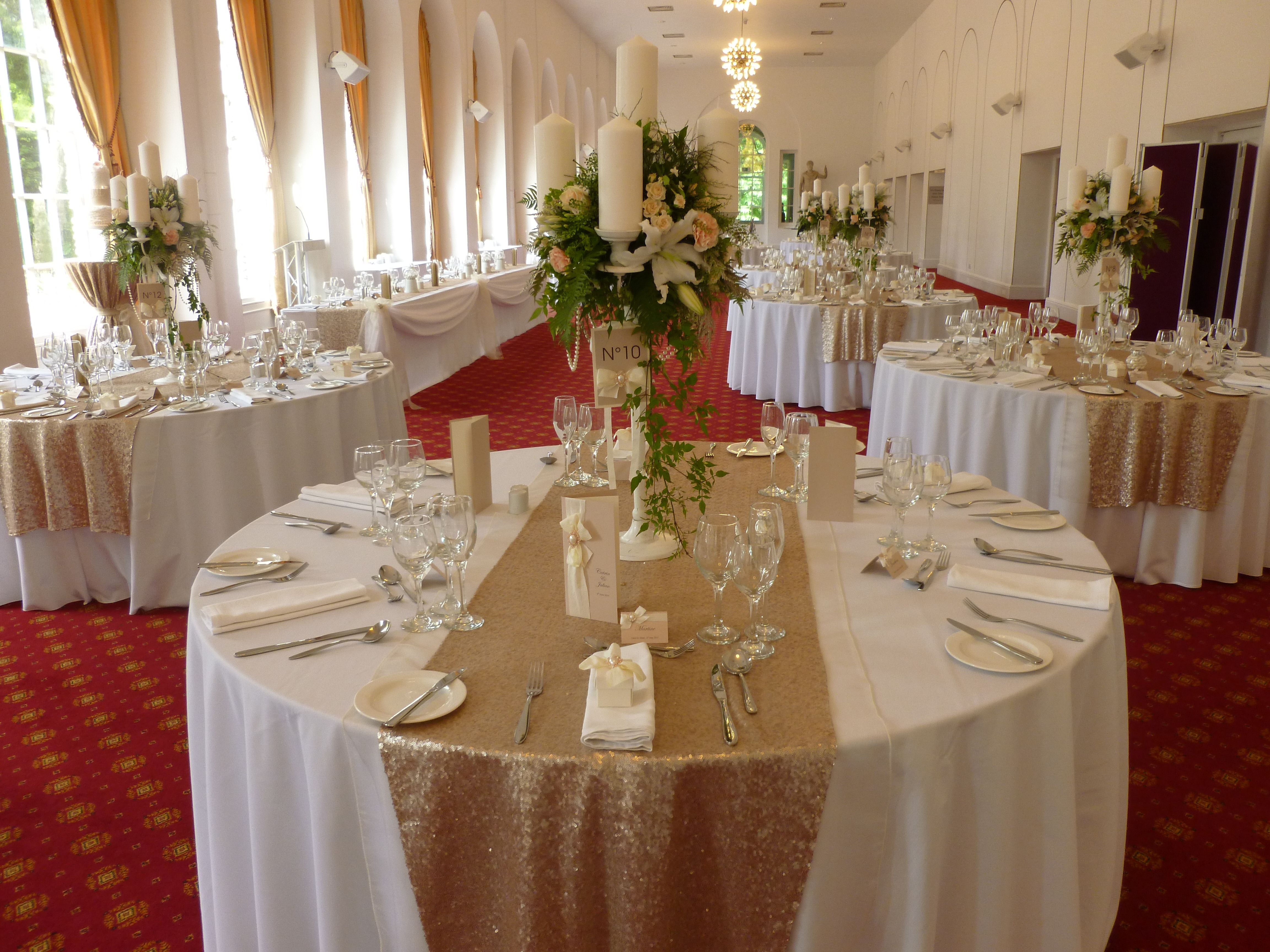 Champagne sequin table runners by Simply Bows and Chair