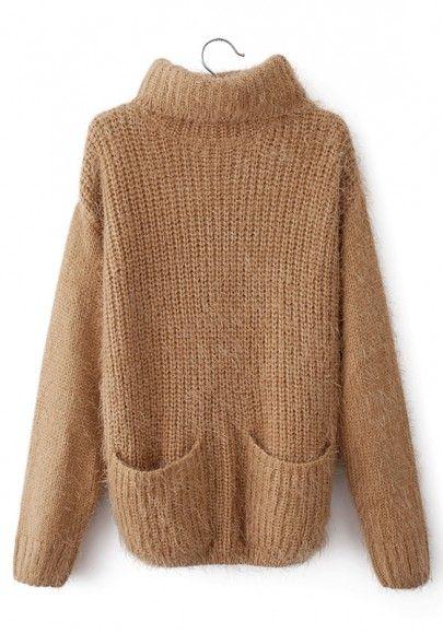 Camel Plain Pockets High Neck Loose Cotton Sweater
