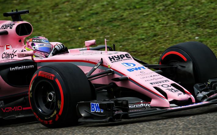 Lataa kuva Sergio Perez, 4k, F1, raceway, 2017 autot, Voima, Force India, VJM10, Formula 1