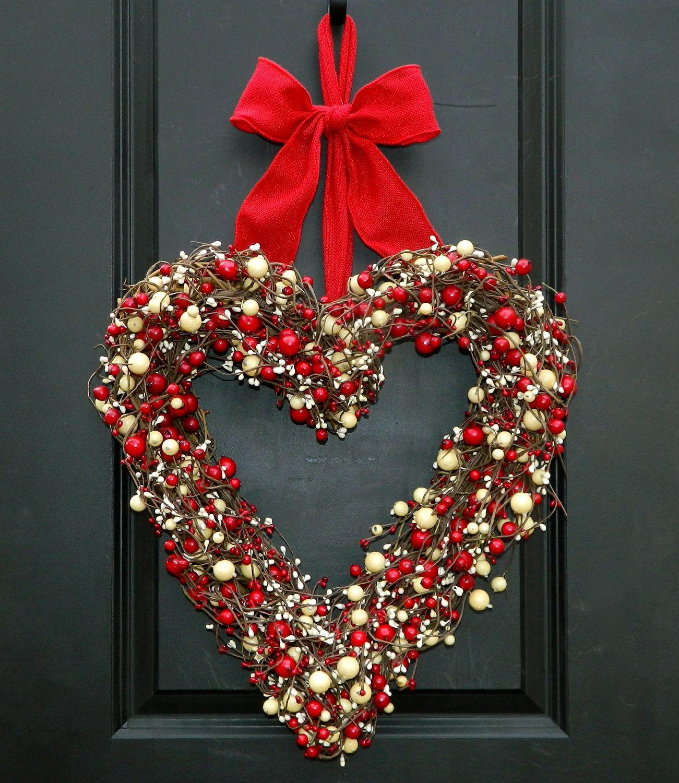 Valentine Wreath Part - 38: Heart Wreath - Valentine Wreath - Valentine Gift - Door Wreath - Large  Wreath