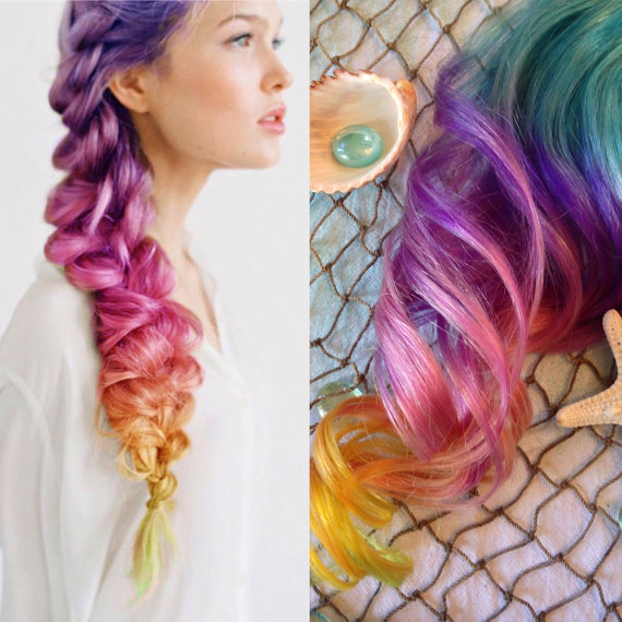 Rainbow Color Hair Extensions Ombre Hair Clip In Purple Hair