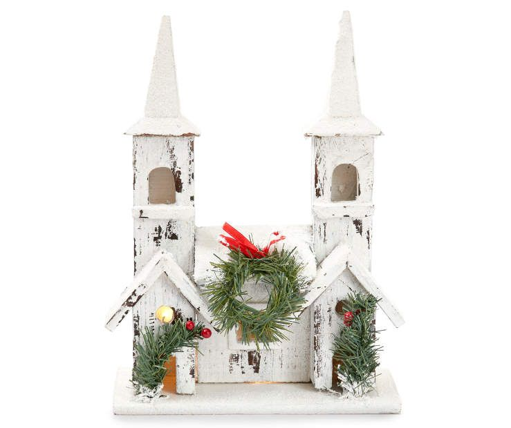 i found a lighted snowy rustic white church at big lots for less find more indoor decor at biglotscom - Big Lots Christmas Lawn Decorations