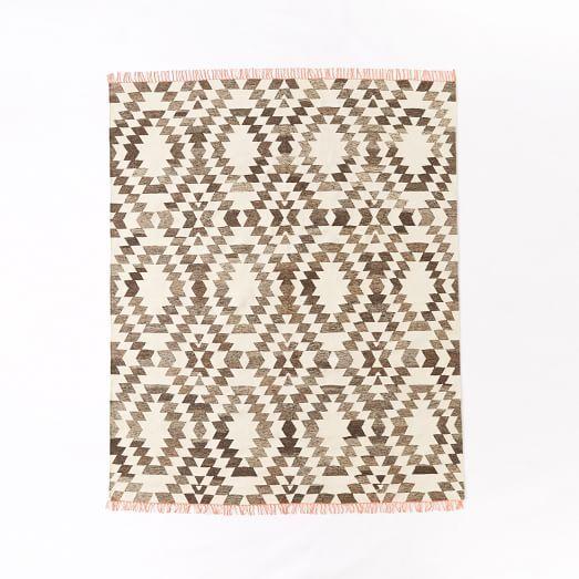 Palmette Chenille Wool Kilim Rug Iron Home Living
