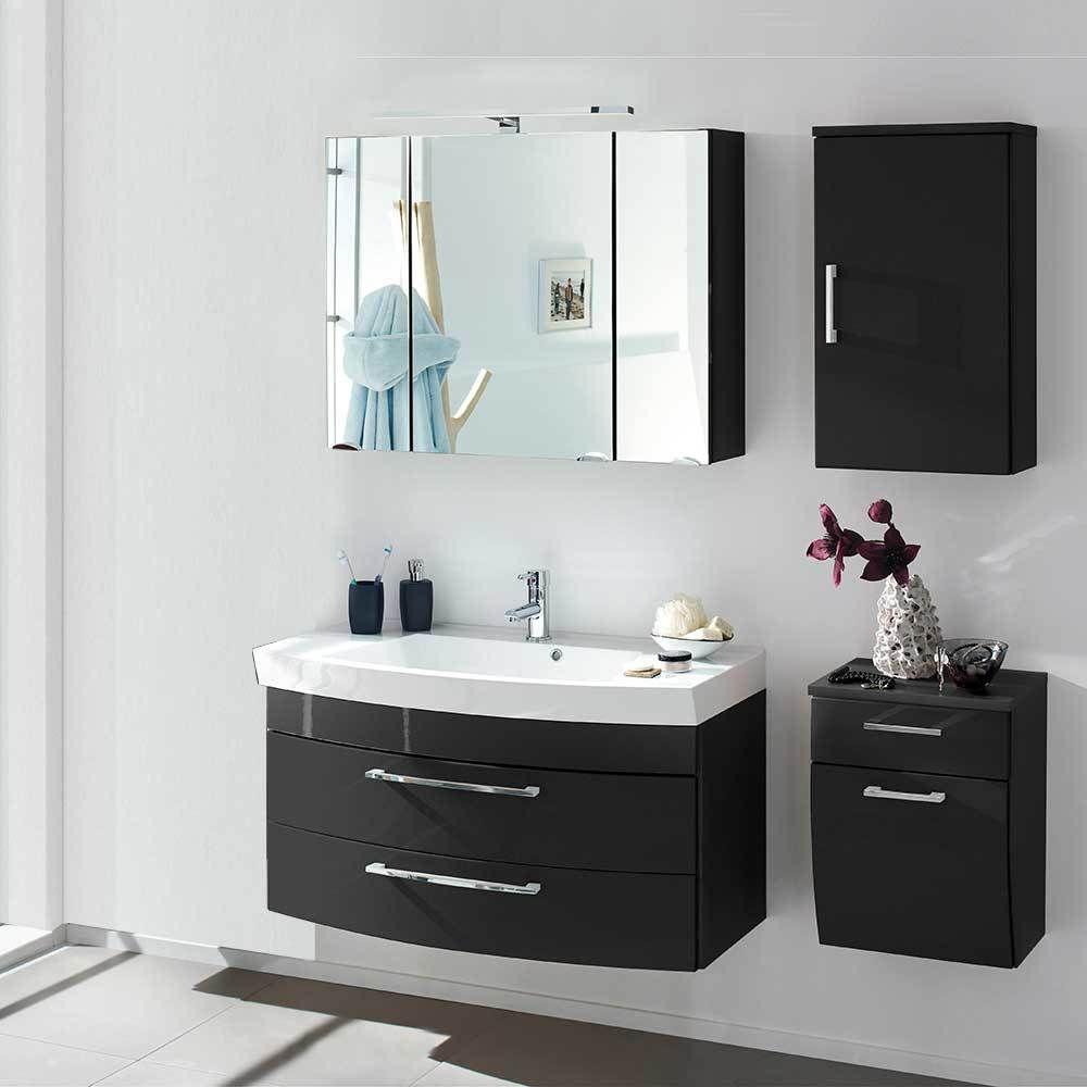 Badezimmer Komplettset mit 3D Spiegelschrank und Waschtisch ...