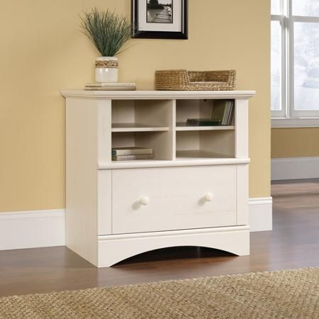 Sauder Harbor View Printer Stand And File Cabinet, White