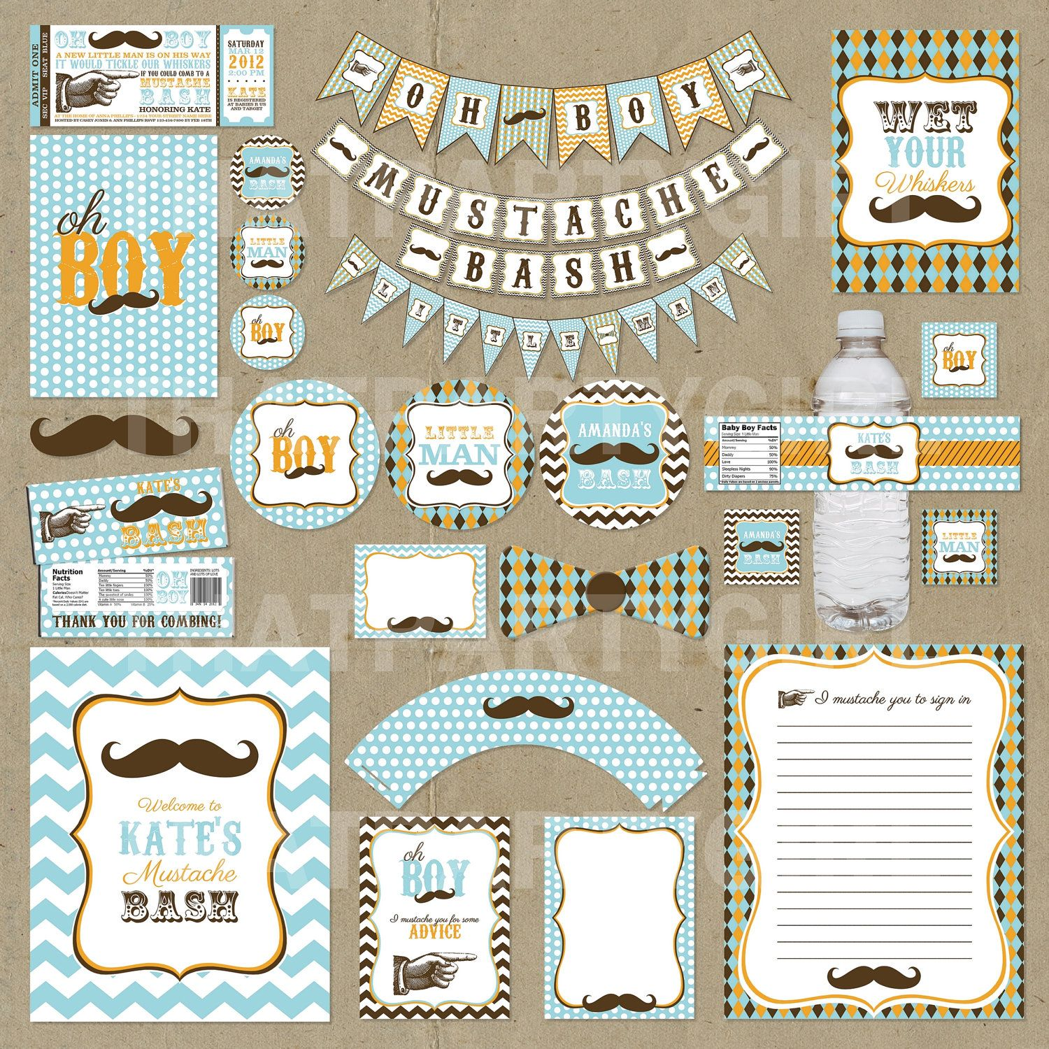 Mustache Bash Little Man Party Package - Invitations Decorations ...