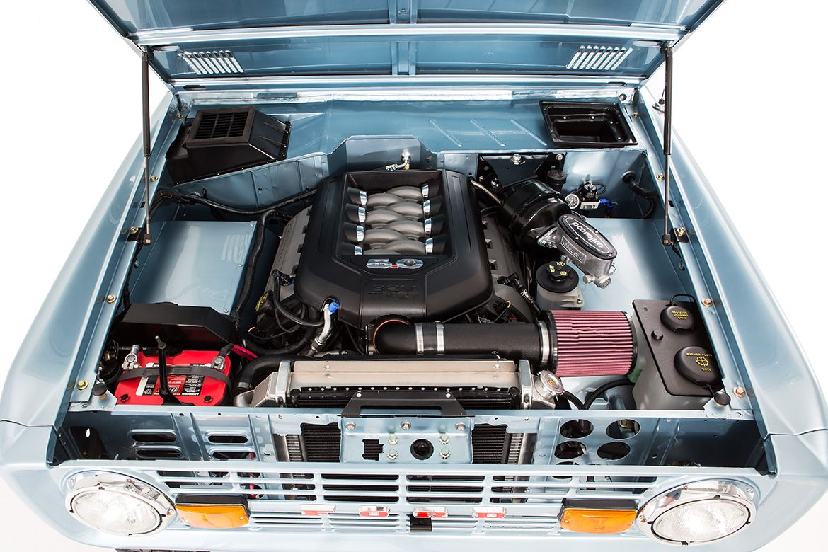 hight resolution of classic ford broncos engine compartment