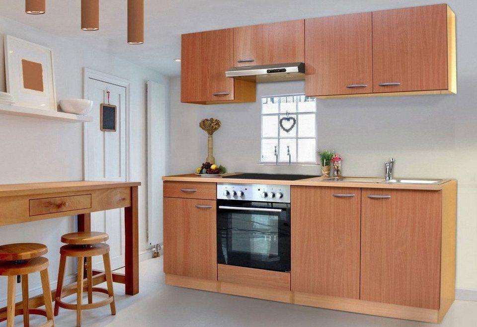 Respekta Küchenzeile mit Glaskeramik-Kochfeld »Basic«, Breite 210 cm - küchenblock 260 cm