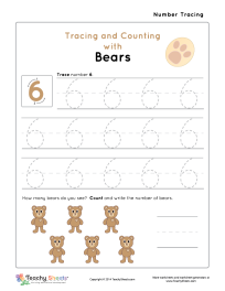 Worksheet for Number 6 Tracing and Counting with Bears. For more free worksheets or worksheet generators visit us at http://TeachySheets.com