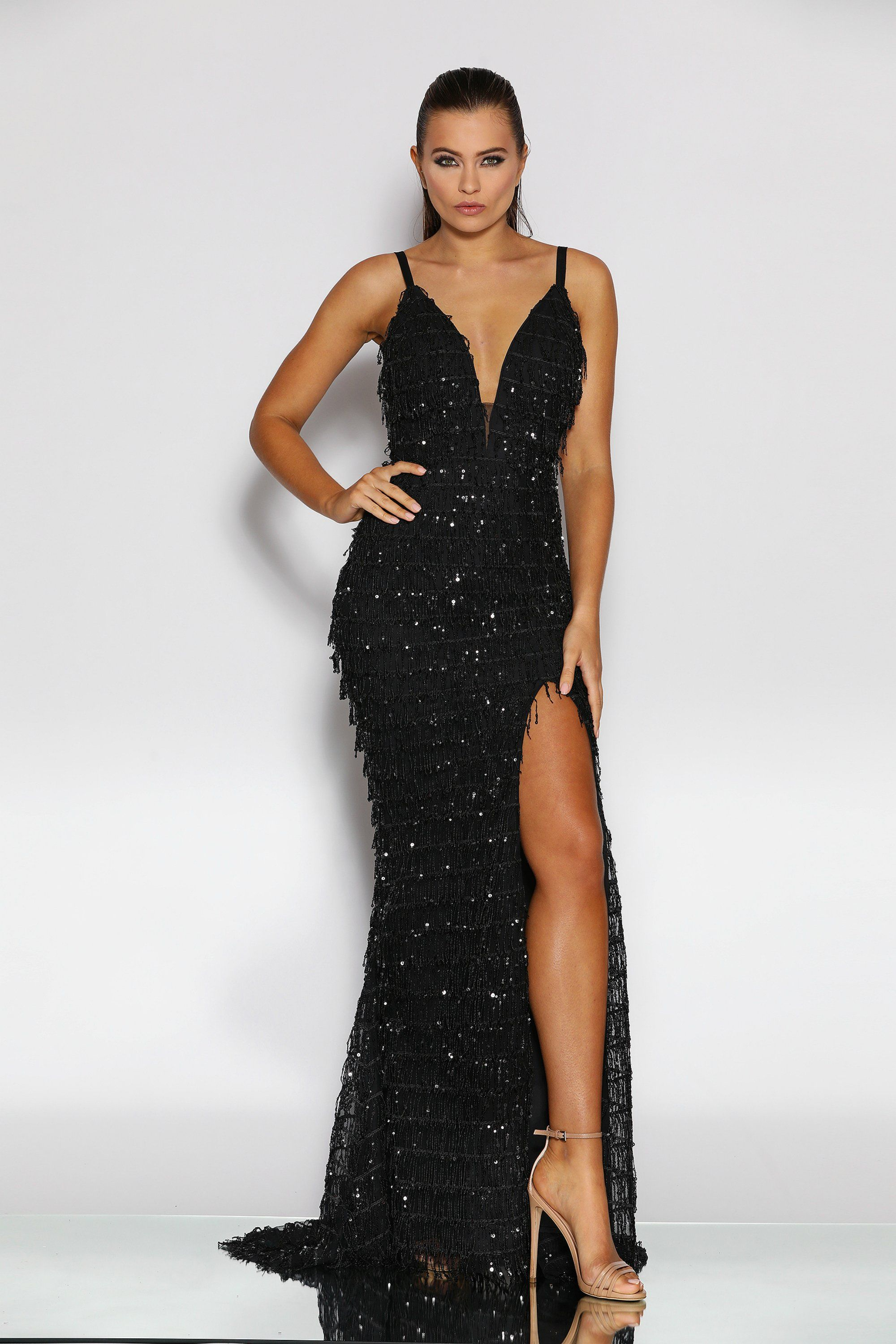 638205a9b4 Jadore JX2012 Black Fringing Tassel Sequin Formal Dress in 2019 ...