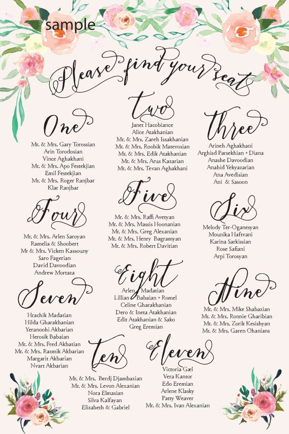 Printable seating chart guest list watercolor floral invitation freshmint paperie also reception posters ready in hours available rh pinterest
