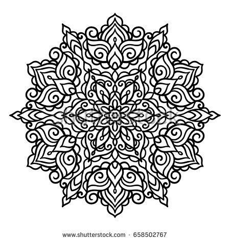 vector outline illustration mandala circle doodle style tattoo