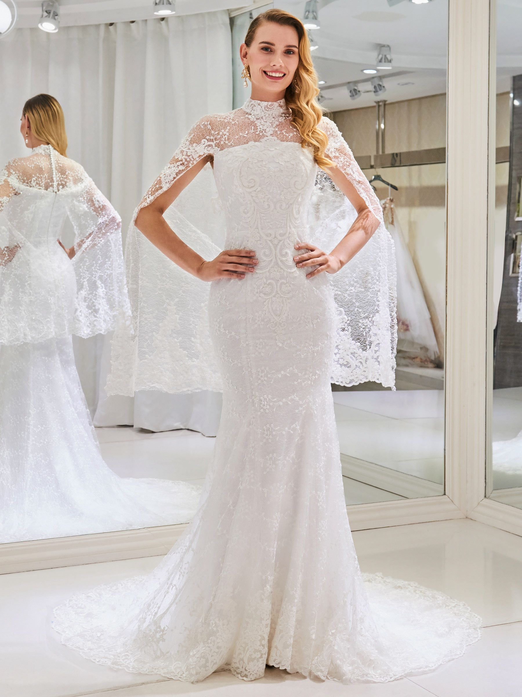 High Neck Mermaid Lace Wedding Dress With Shawl Wedding Dress Shawl Lace Mermaid Wedding Dress Dress With Shawl [ 2400 x 1800 Pixel ]