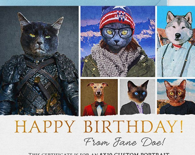 Custom Portrait Gift Certificate Birthday Best Friend Cat Lover Christmas For Her Him Pet