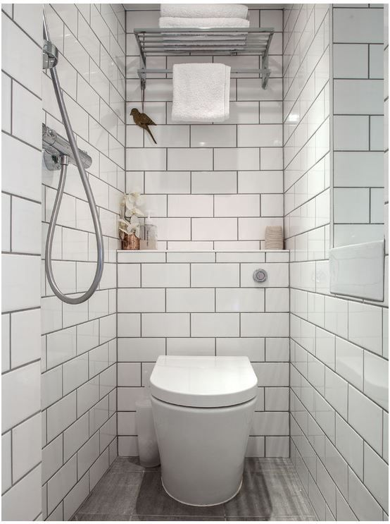 Design Ideas For A Traditional Bathroom In London With White Tiles, Metro Tiles And A One-piece Toilet. — Houzz… | Small Wet Room, Wet Room Bathroom, Tiny Bathrooms