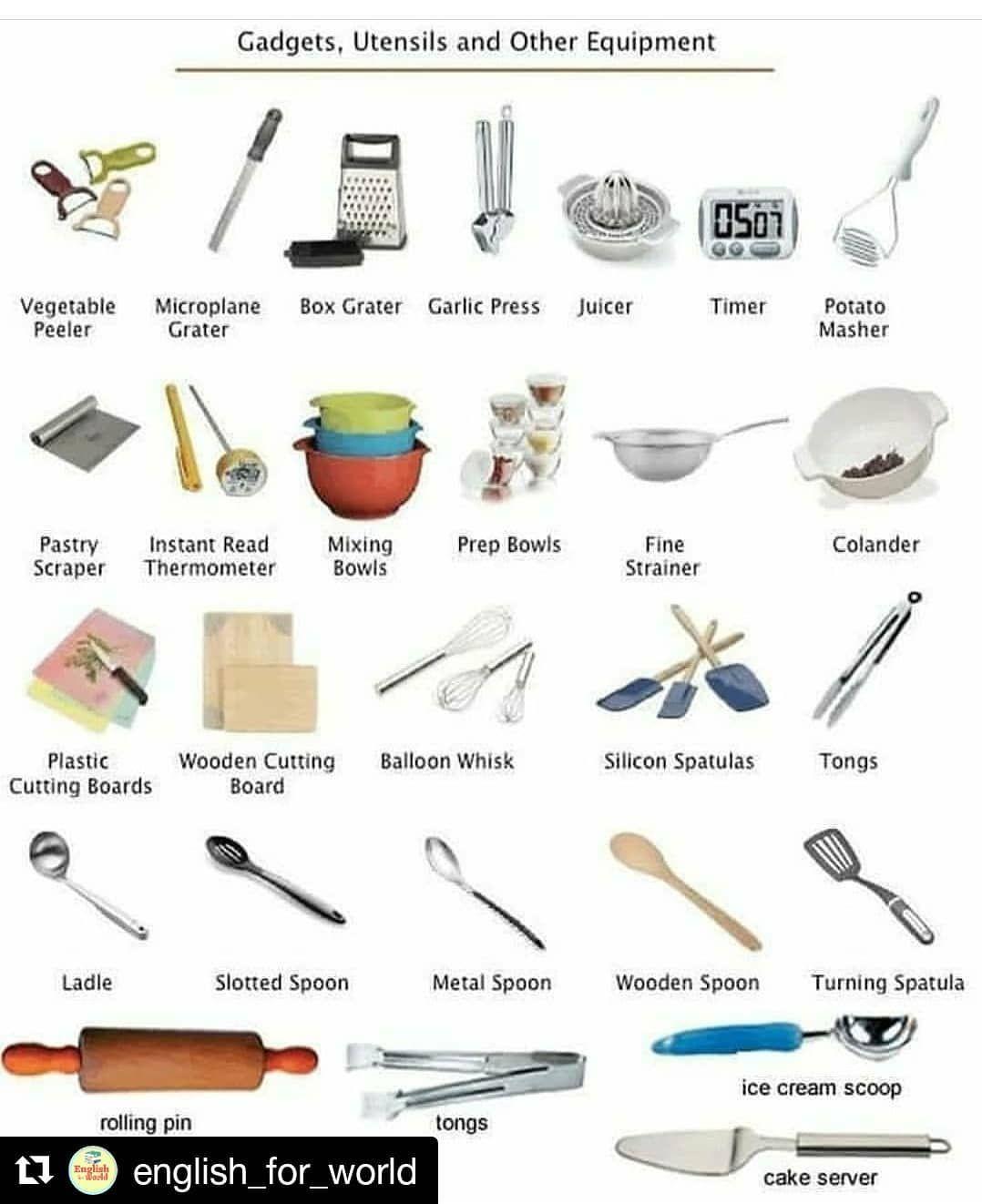 English Grammar Vocabulary On Instagram Repost English For World Get Repost Follow E Kitchen Utensils And Equipment Kitchen Gadgets Kitchen Utensils