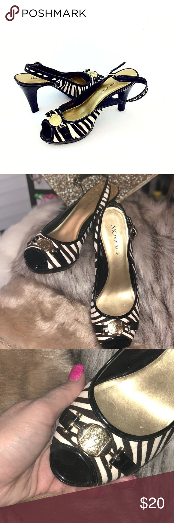 ANNE KLEIN iFlex Sling Real Fur 10 M Zebra 🦓 Women in Black & White Zebra print real fur with Patent Heel and adjustable slingback.  Gold medal accent across toe.  Great classic and timeless style.  Perfect for work or for special occasion. Around 3 inch heel.  Size:  10 Medium  Color:  Black & White Zebra Stripe  Brand: Anne Klein iFlex  Condition:  New Without Tags - Excellent Pre-owned condition - couple of minor dings on heel.  Material:  Real fur Upper Balance Man Made Material Items…
