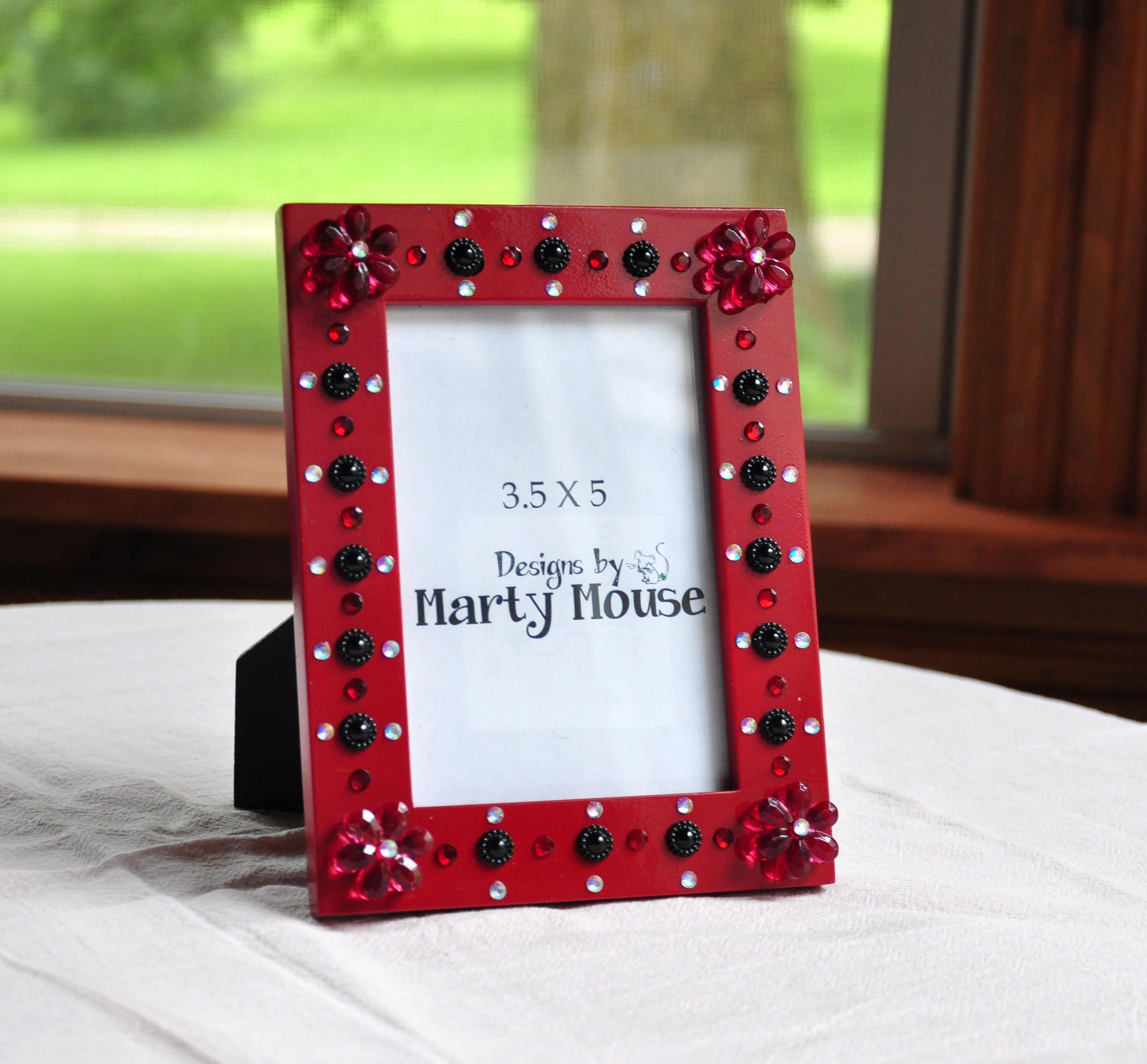 Red Picture Frame/3.5x5 Picture Frame/Flower Frame/Goth Picture ...