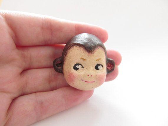 Handmade Doll Face Brooch Cutie the Chimp Monkey by Dottie Dollie, £15.00