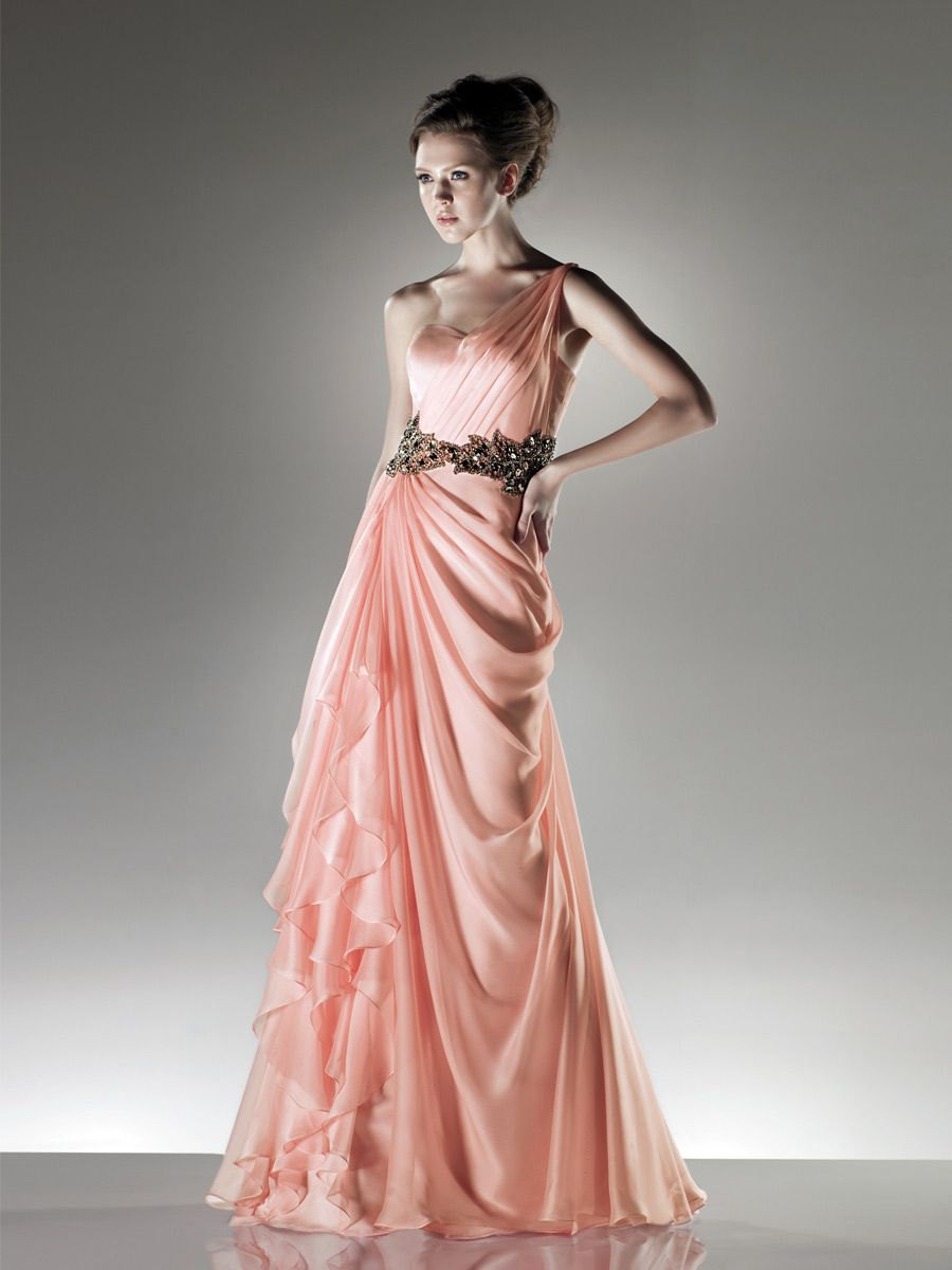 light peach chiffon floor length evening dress | Dress | Pinterest ...