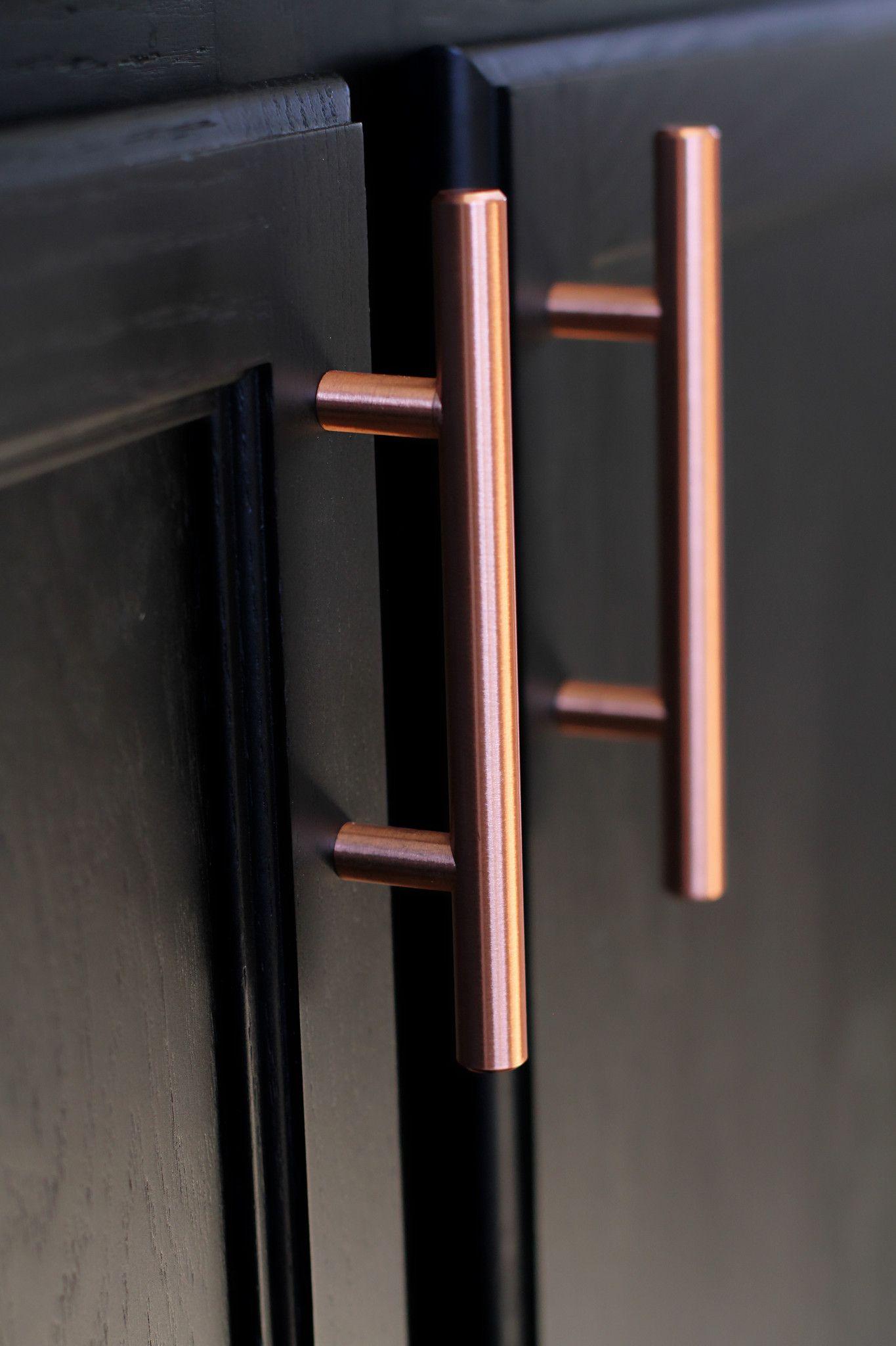 Satin Copper Cabinet Hardware Euro Style Bar Handle Pull - 3  Hole Centers 5 & Satin Copper Cabinet Hardware Euro Style Bar Handle Pull - 3
