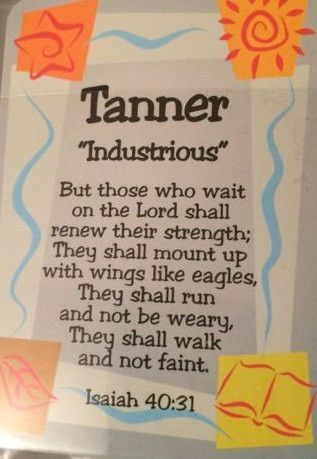 Boy Daydream Scripture Name Cards that begin with T (Tanner - Tyler