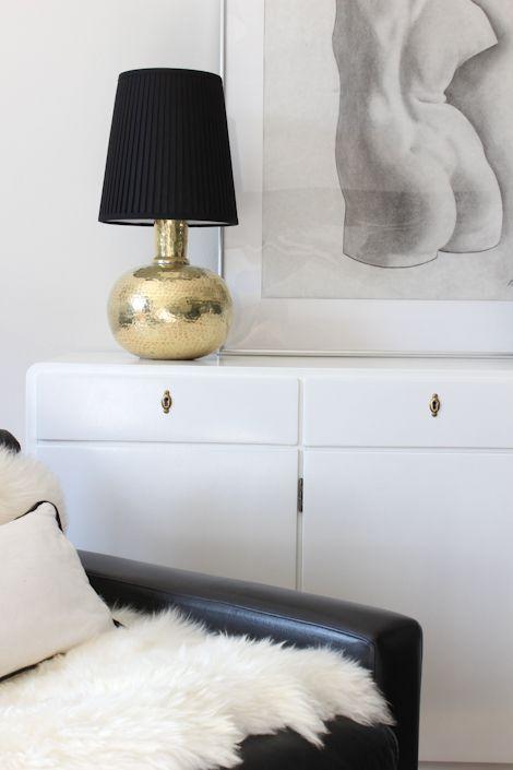 hammered brass & black shade lamp, NimiDesign