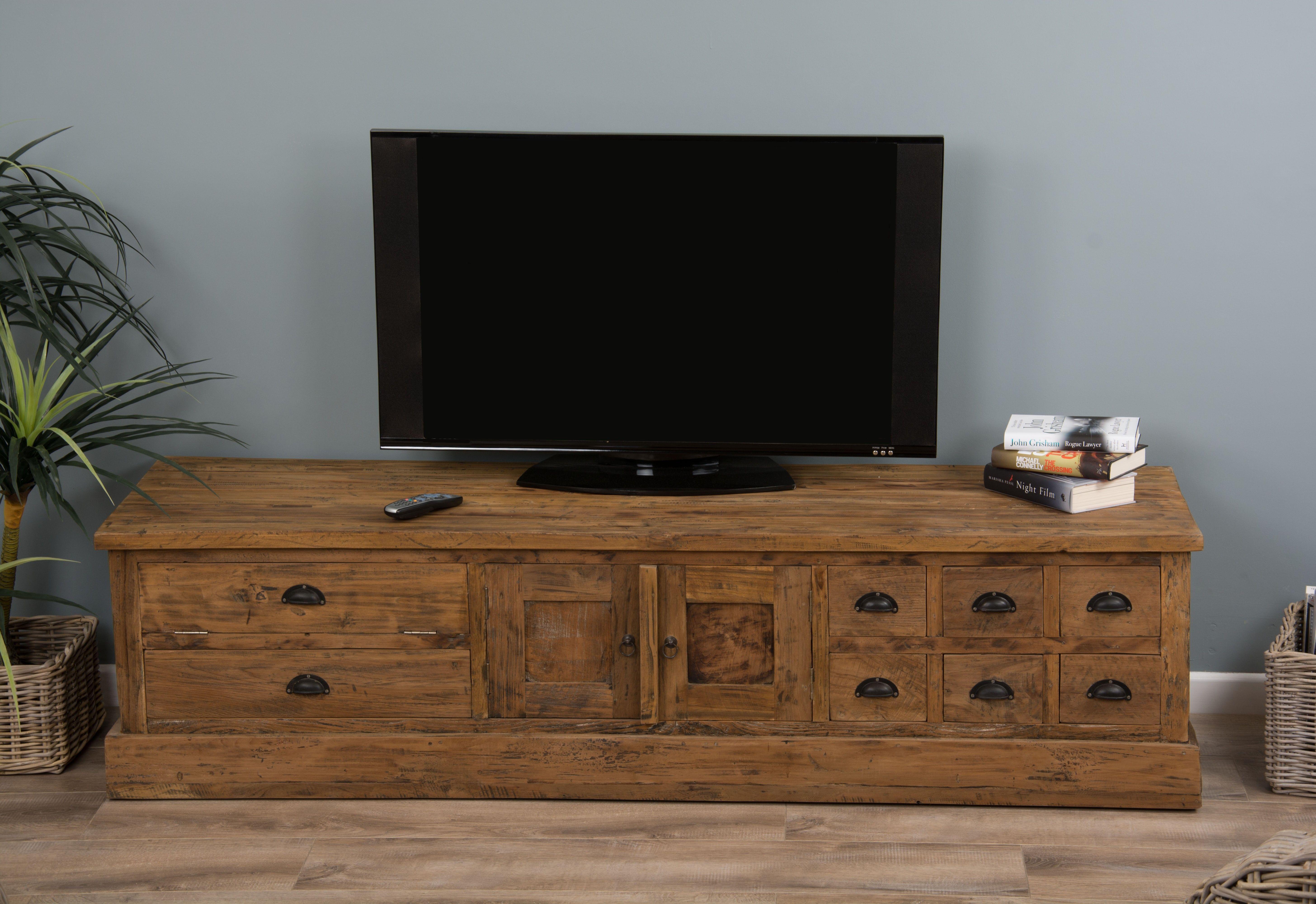 Rustic Reclaimed Teak Tv Cabinet Home Decor Tv Cabinets