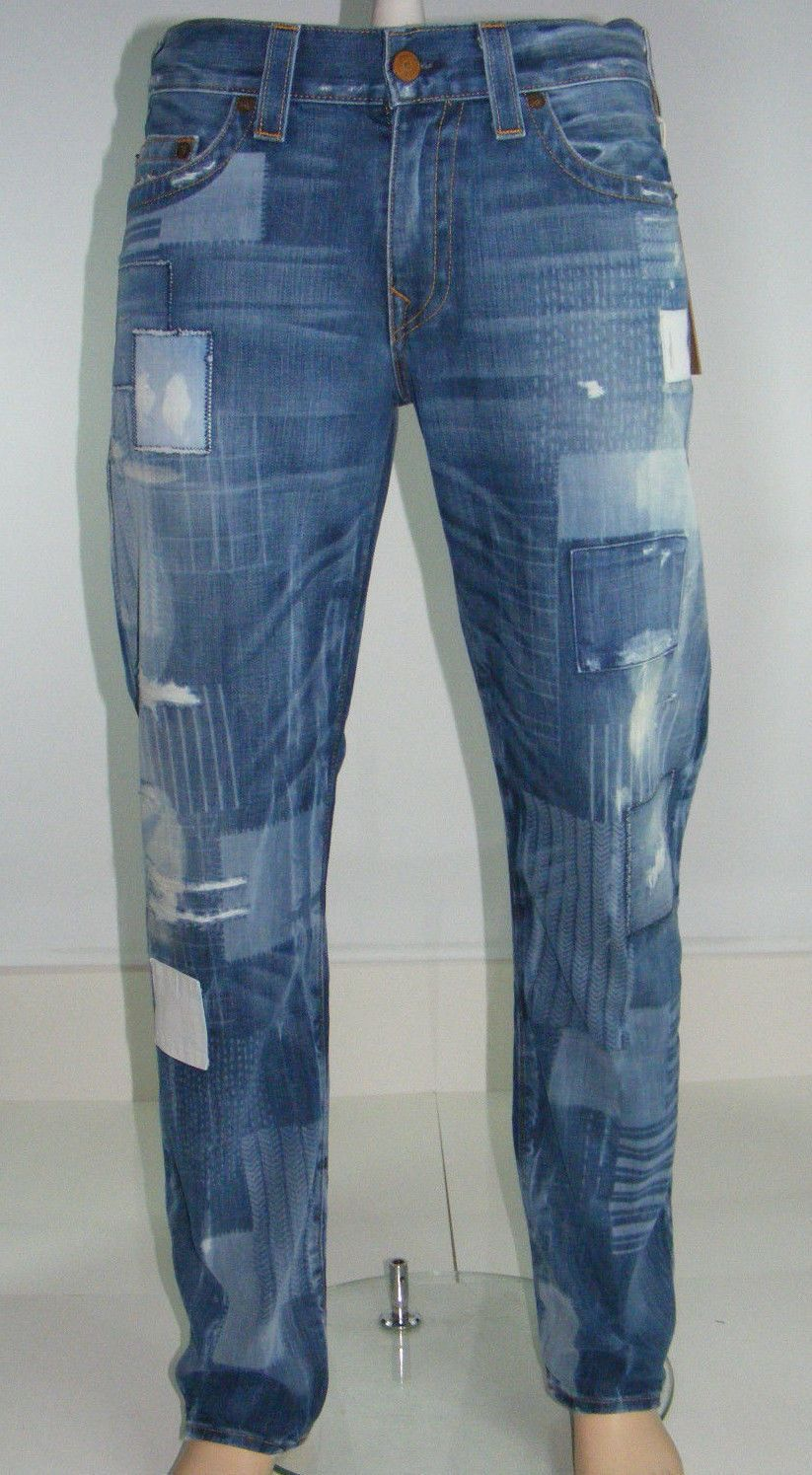93cadcab9fe4 True Religion Mens Geno Relaxed Slim Graphic Patchwork Jeans Size 36 x 34    eBay