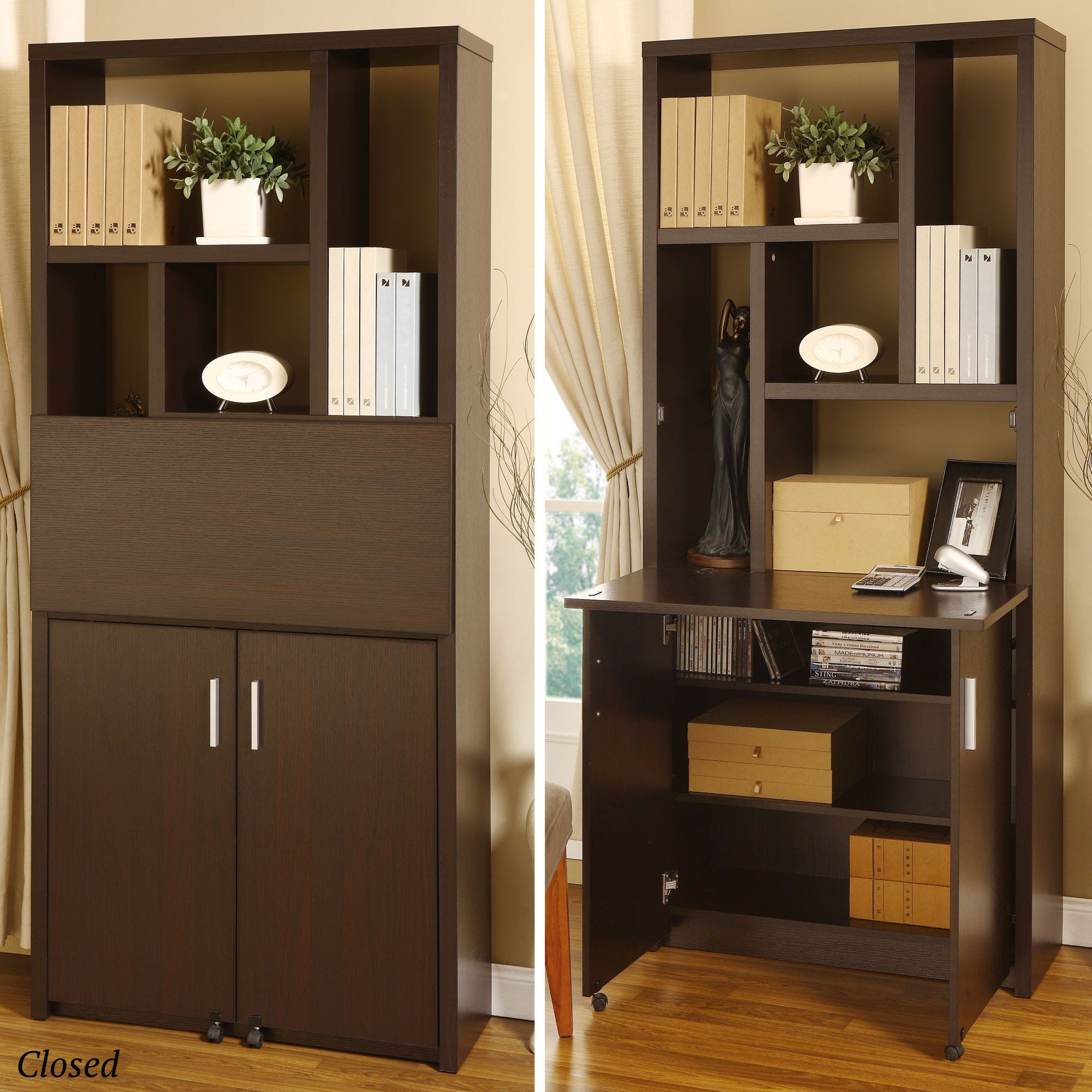 Hidden Fold Down Desk Office Storage Small Space In A Tiny House Desks For Small Spaces Bookshelf Desk Ikea Desk