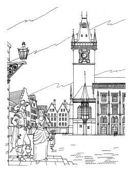 Old Town Hall In Prague Castle coloring page, Coloring