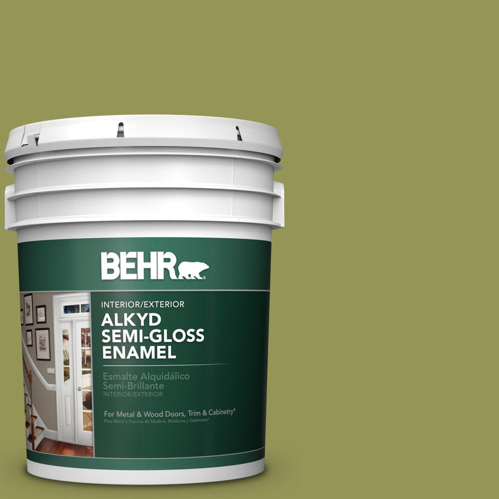 Behr 5 Gal M340 6 Spinach Dip Urethane Alkyd Semi Gloss Enamel Interior Exterior Paint 393005 Exterior Paint Interior Exterior Interior Paint