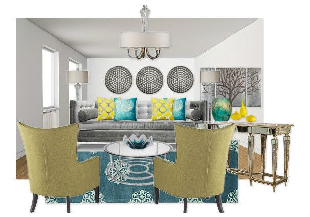 Gray Teal And Yellow Living Room By Andreao