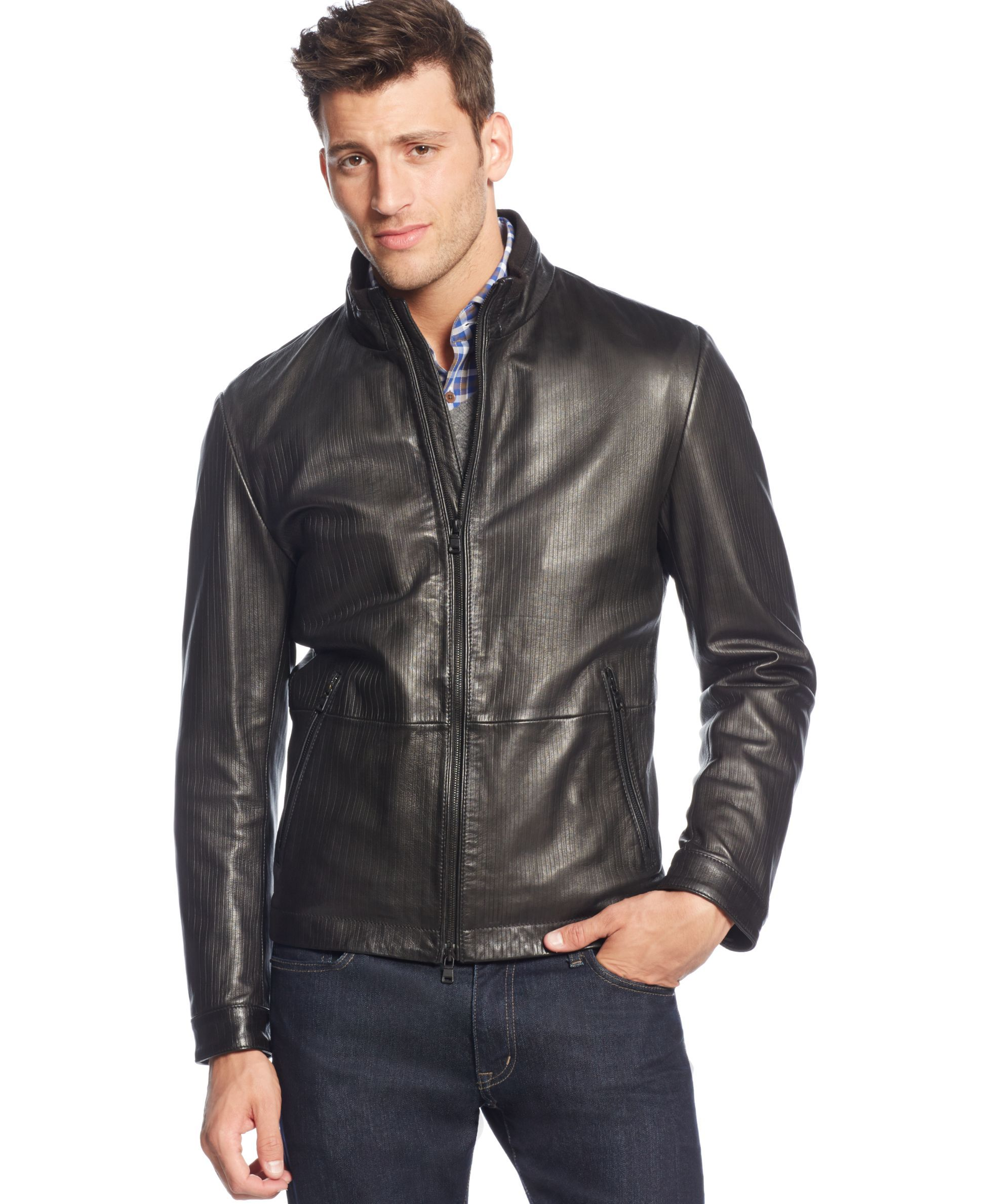 Boss Hugo Boss Garin Leather Jacket (With images