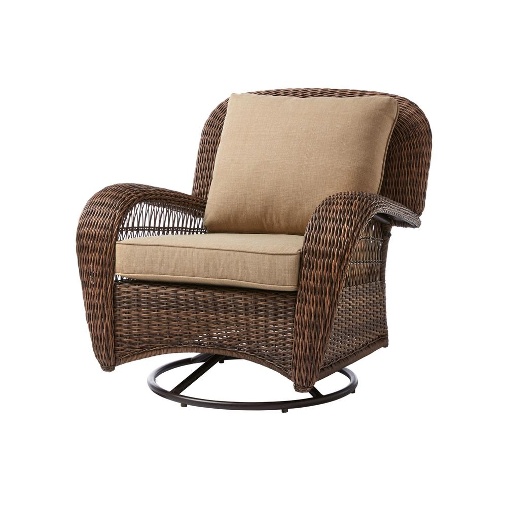 Hampton Bay Beacon Park Brown Wicker Outdoor Patio Swivel Lounge Chair With Standard Toffee Trellis Tan Cushions Frs80812crs Lounge Chair Outdoor Outdoor Chairs Outdoor Rocking Chairs