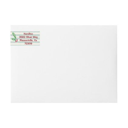 Christmas Holly Mint Stripes Return Address Wrap Around Label - christmas cards sample