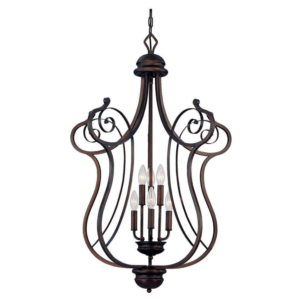 Millennium Lighting 6 Light Rubbed Bronze Chandelier With Turinian Scavo Glass 1056 Rbz The Home Depot Bronze Chandelier Millennium Lighting Light Bulb Candle