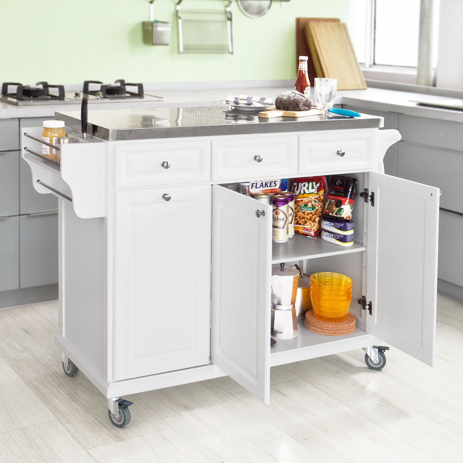 Kitchen Island Trolley sobuy white luxury kitchen island storage trolley cart, kitchen