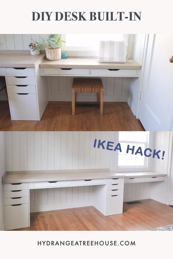 DIY desk built-in with Ikea Alex desk & drawer hack
