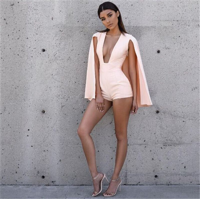 aa1d4ecf5d6a  42.76 - Awesome 2016 Summer Style Rompers Women Jumpsuit New Fashion Sexy  deep v neck jumpsuit romper pink Casual short overalls Bodysuit - Buy it  Now!