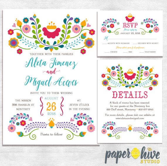 Fiesta Wedding Invitations / mexican wedding invitations / printable
