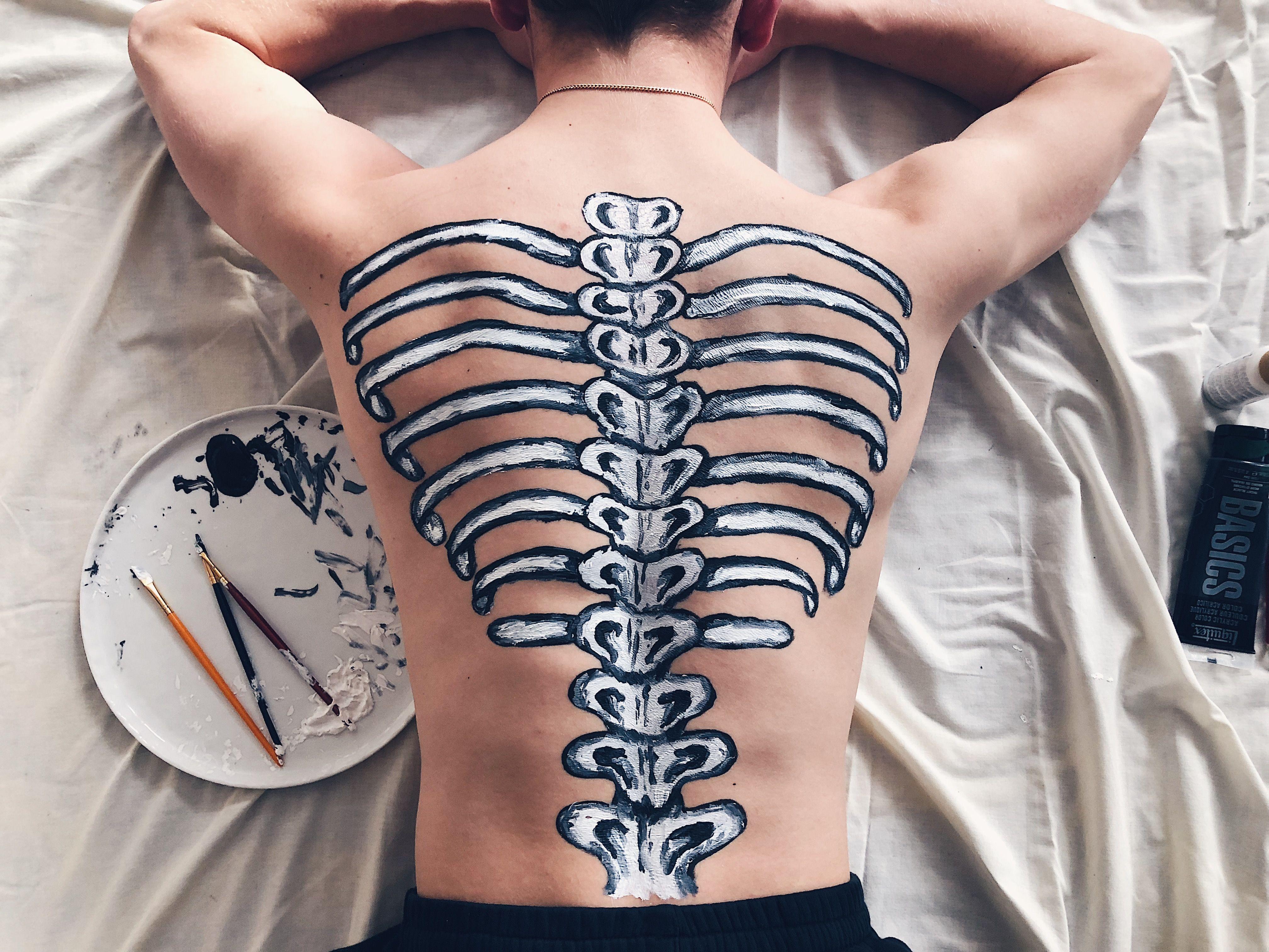 Skeleton Back Painting Body Art Body Art Painting Human Body Art Body Art