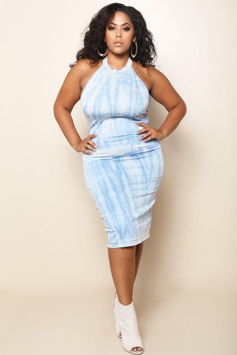 Plus Size Halter Midi Dress Light Denim Products