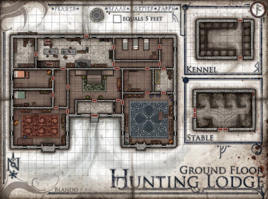 Image Of The Hunting Lodge Ground Floor Revised Dm Player Version Digital Download Fantasy Map Dungeon Maps Tabletop Rpg Maps