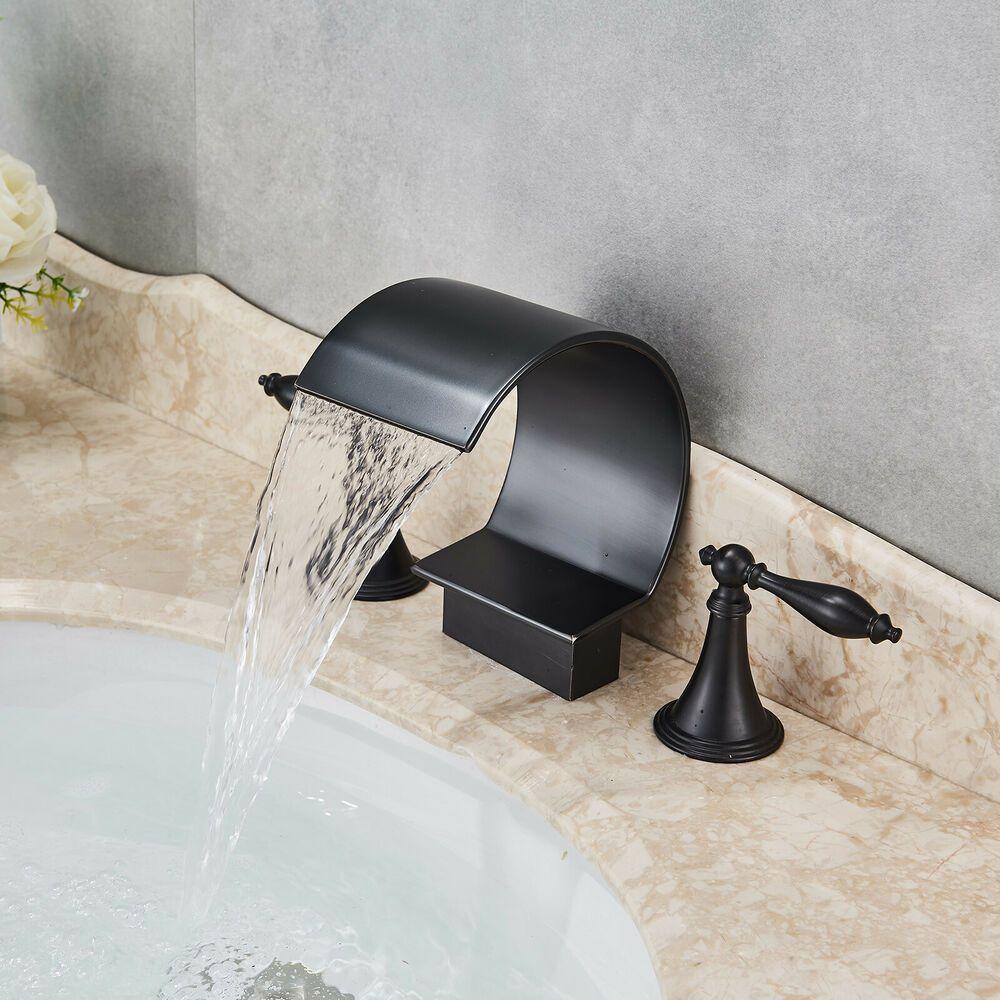 Oil Rubbed Bronze Led Bathroom Faucet Widespread Dual Handles