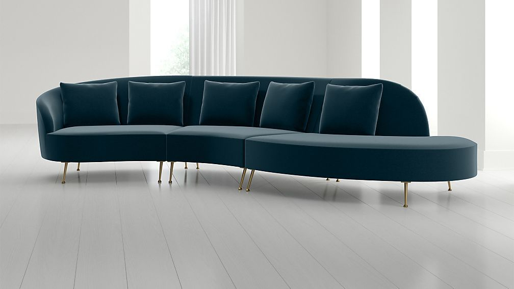 Bellevue 3 Piece Right Arm Chaise Serpentine Sectional